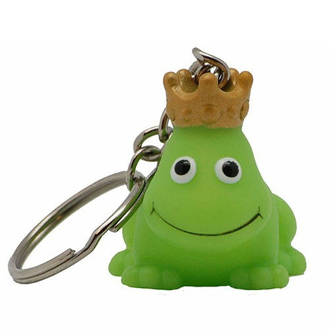 Green frog rubber duck with crown - keyring 4cm