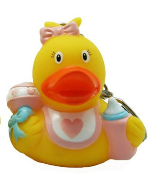 Baby girl rubber duck - keyring