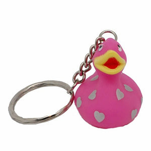 Pink rubber duck with hearts - keyring 4cm