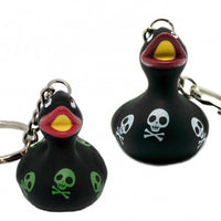 Black rubber duck with skulls - keyring 4cm - DD