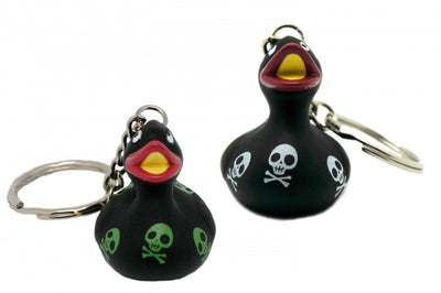 Black rubber duck with skulls - keyring 4cm