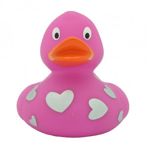 Pink rubber duck with silver hearts