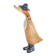 DCUK Natural Welly Duckling with Hat - Blue Flowers