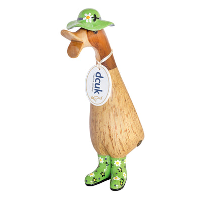 DCUK Natural Welly Duckling with Hat - Green Flowers