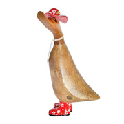DCUK Natural Welly Duckling with Hat - Red Flowers