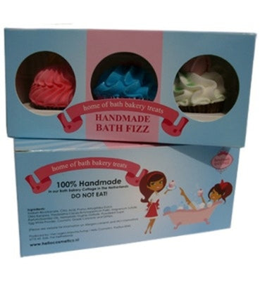 Small Cupcake Bath Fizz Gift Set Of Three In A Gift Box - Pamper Me