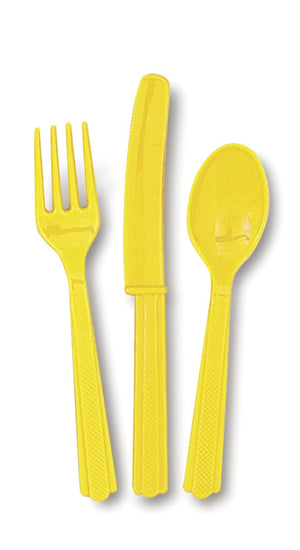 18  Assorted Sunflower Yellow Cutlery