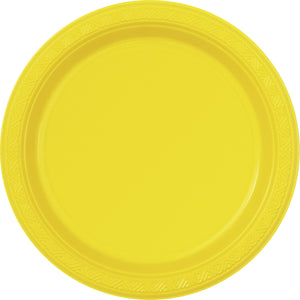 "12  Sunflower Yellow 7"" Plastic Plates"