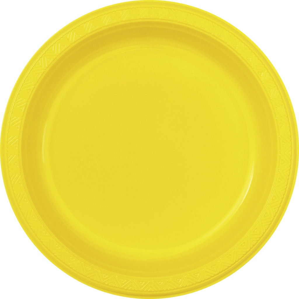 "8  Sunflower Yellow 9"" Plastic Plates"