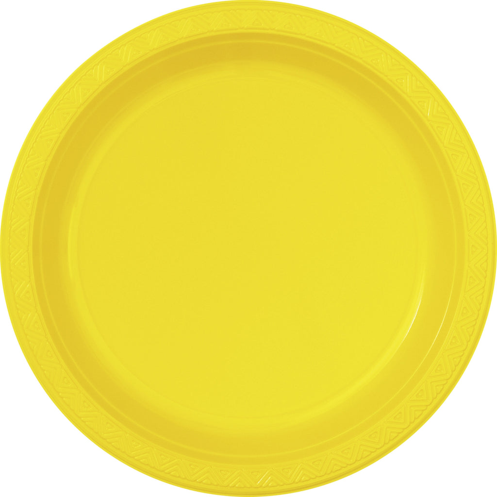 "6  Sunflower Yellow 10"" Plastic Plates"