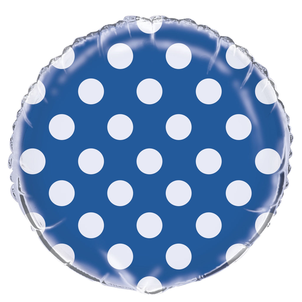 "1  18"" Foil Balloon  Packaged - Royal Blue Dots"
