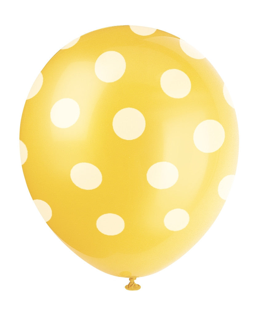 "6  12"" Balloons Printed All Around - Sunflower Yellow Dots"