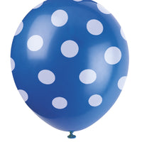 "6  12"" Balloons Printed All Around - Royal Blue Dots"