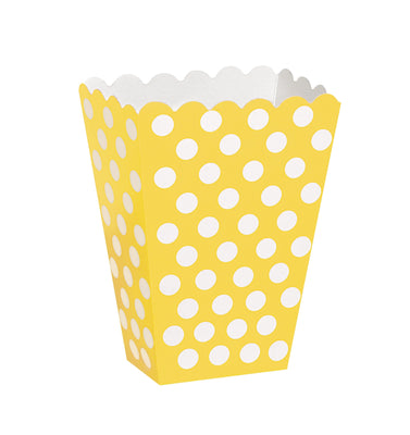 8  Treat Boxes - Sunflower Yellow Dots