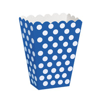 8  Treat Boxes - Royal Blue Dots