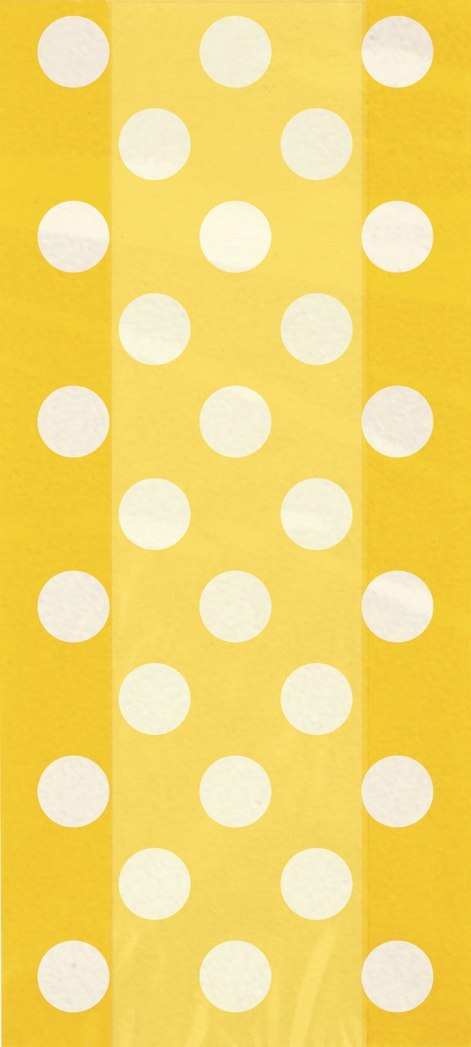 20  Cello Bags - Sunflower Yellow Dots