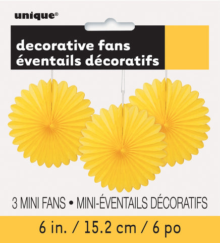 "Decorative Fan 6"" - Sunflower Yellow"
