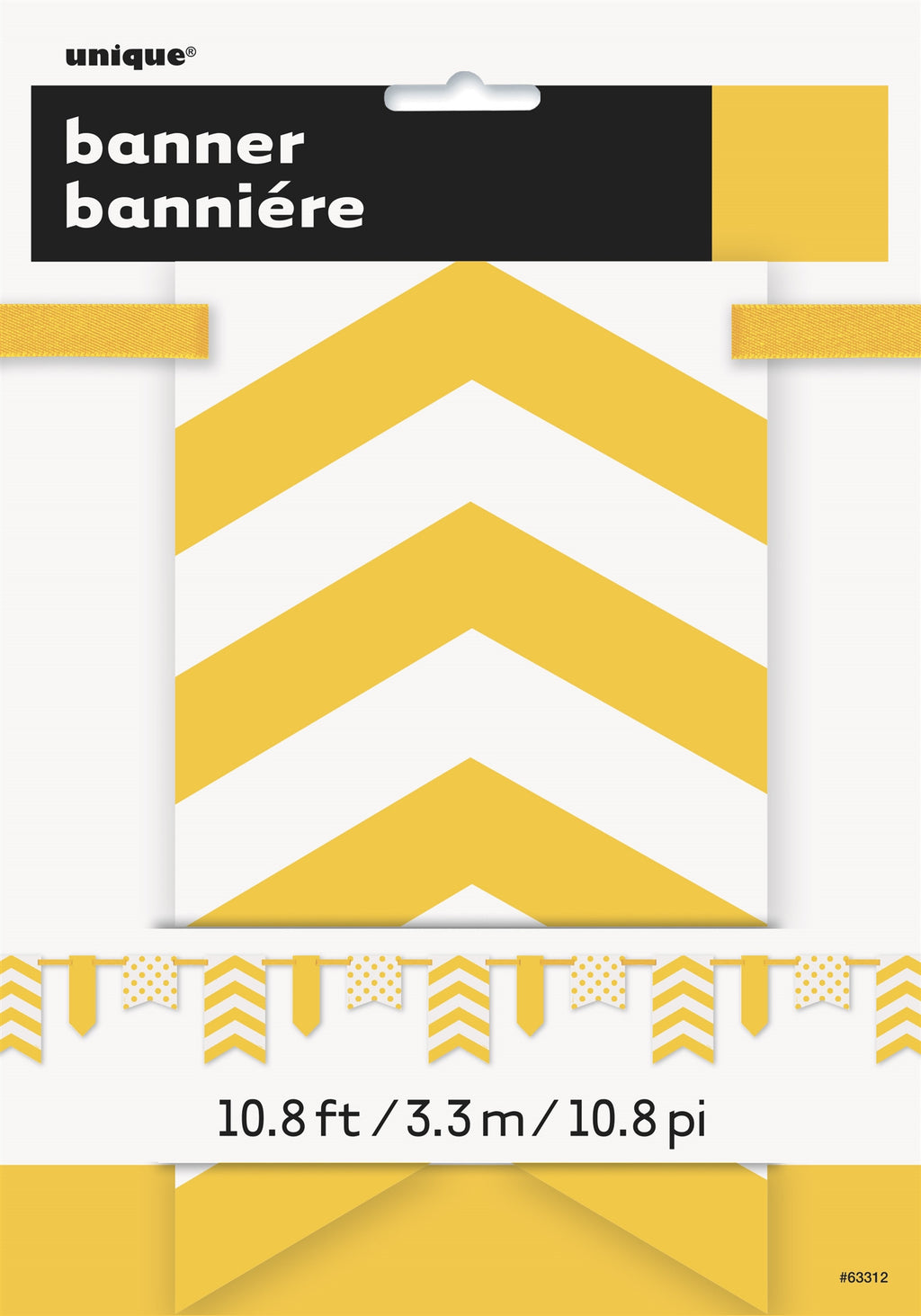 1  Sunflower Yellow Paper Pennant Banner