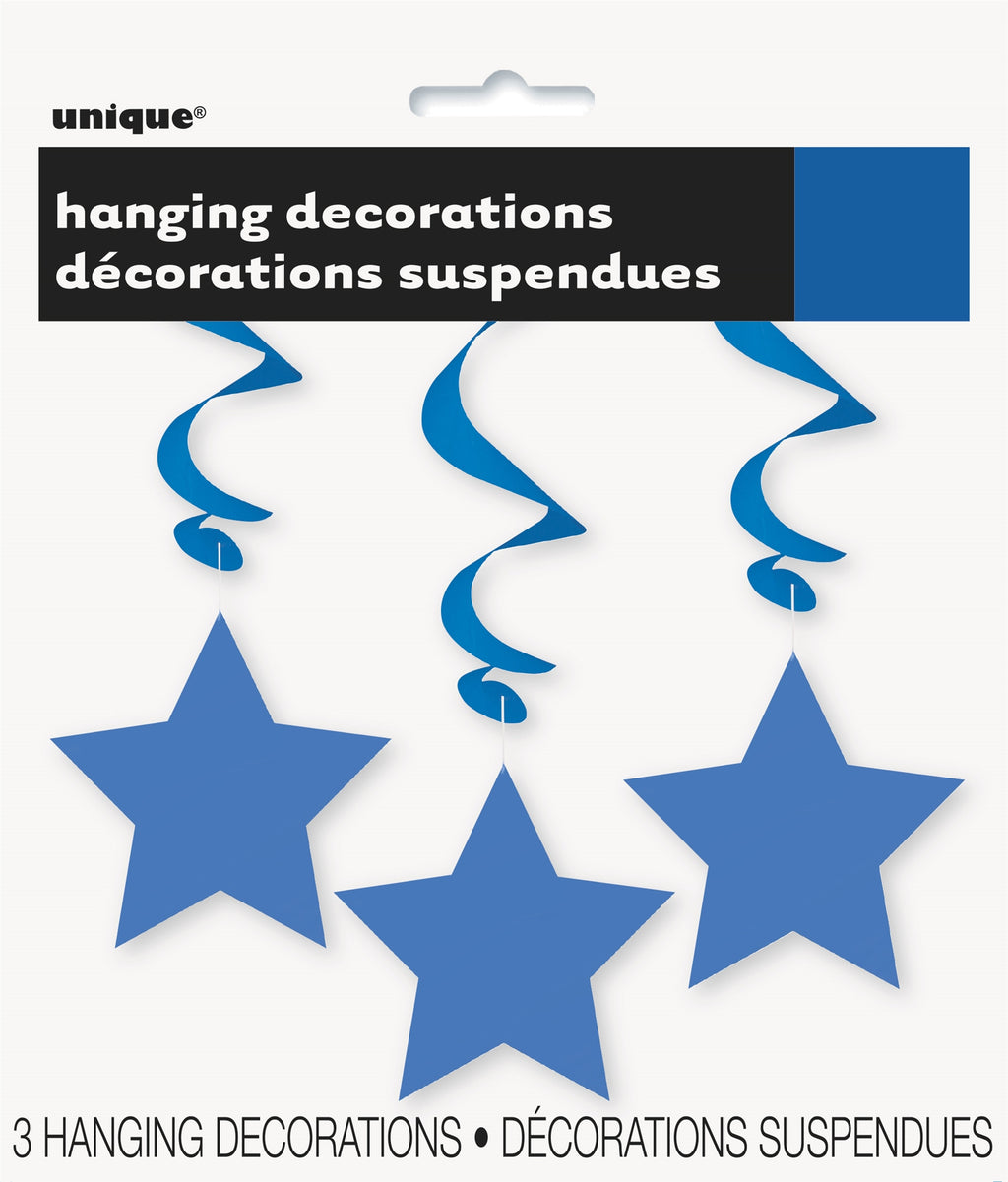 3  Royal Blue Stars Hanging Swirls