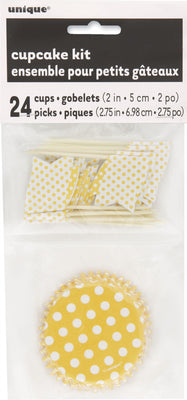 1  Sunflower Yellow Dots Cupcake Kit For 24