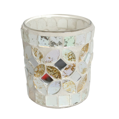 Cream & Gold Metallic Votive Holder 6.5cm