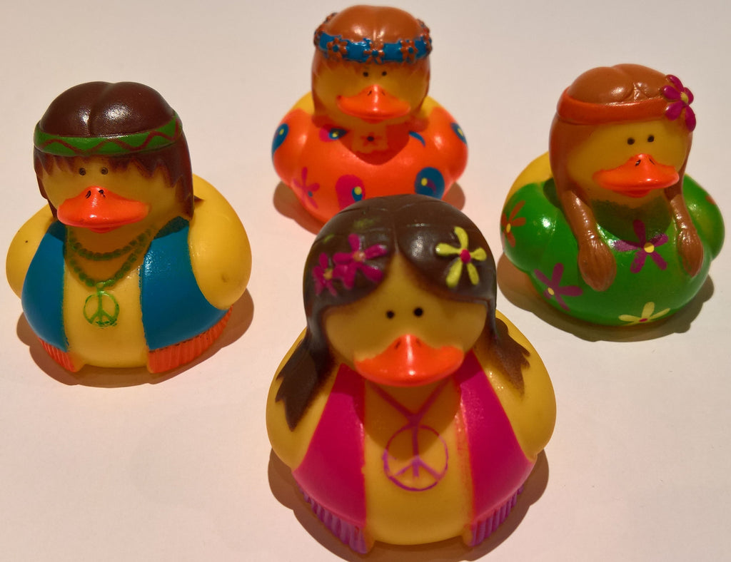 Hippie Rubber Duckies - Pack of 4 Ducks