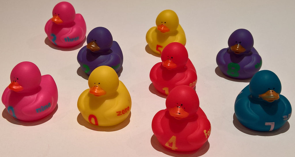 1, 2, 3 Numbers Rubber Duckies - Pack of 12 Ducks