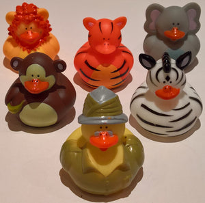 Safari Rubber Duckies - Pack of 6 Ducks