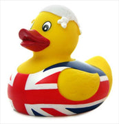Union Jack Rubber Duck - With Scarf on Head From Yarto