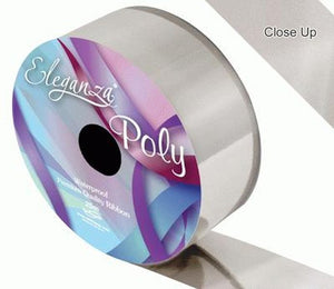 50mm Poly Ribbon - Metallic Silver by Eleganza - 25m