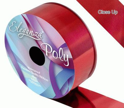 50mm Poly Ribbon - Metallic Red by Eleganza - 25m