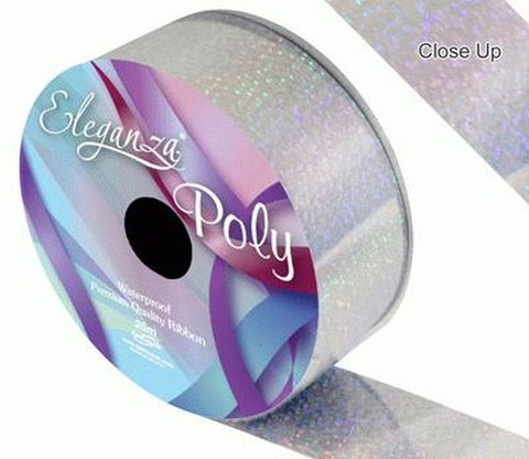 50mm Poly Ribbon - Holographic Silver by Eleganza - 25m