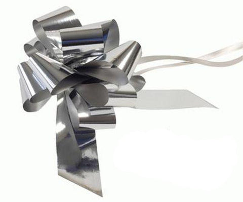 50mm Pull Bow - Metallic Silver by Eleganza