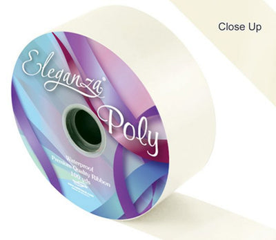 50mm Poly Ribbon - Ivory No.61 by Eleganza - 91m (100yds)