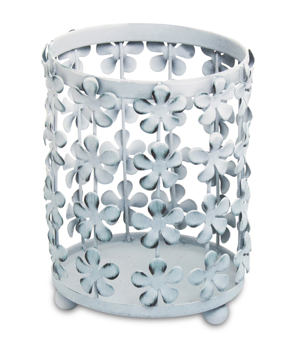 Light Blue Flower Basket Hurricane - From Heart and Home