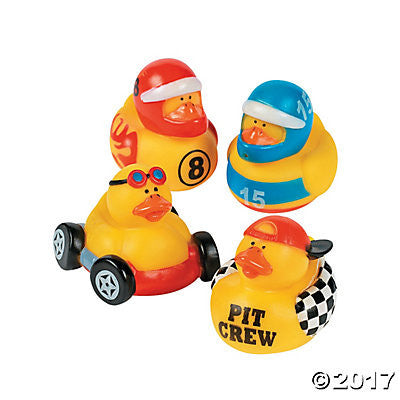Race Car Driver Rubber Duckies - Pack of 4 Ducks