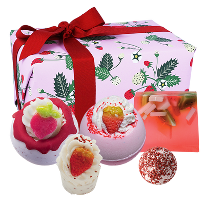 Strawberry Feels Forever Gifts - Wrapped from Bomb Cosmetics