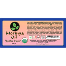 Load image into Gallery viewer, Moringa Oil Organic USDA and Pure 8 oz