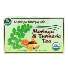 Load image into Gallery viewer, USDA Organic Moringa Turmeric Tea. Some water damage to outside of box, pouch inside perfectly fine.
