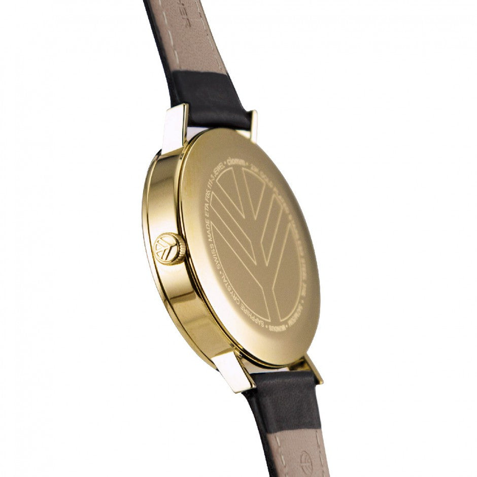 Clomm Mundus Black Gold 23k Minimalist watch