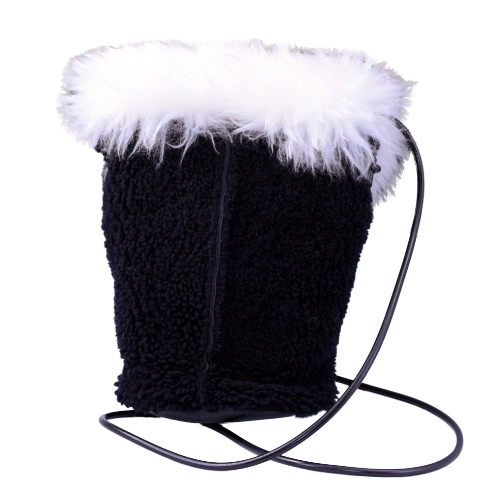 Black Fleece w/ white wool flap