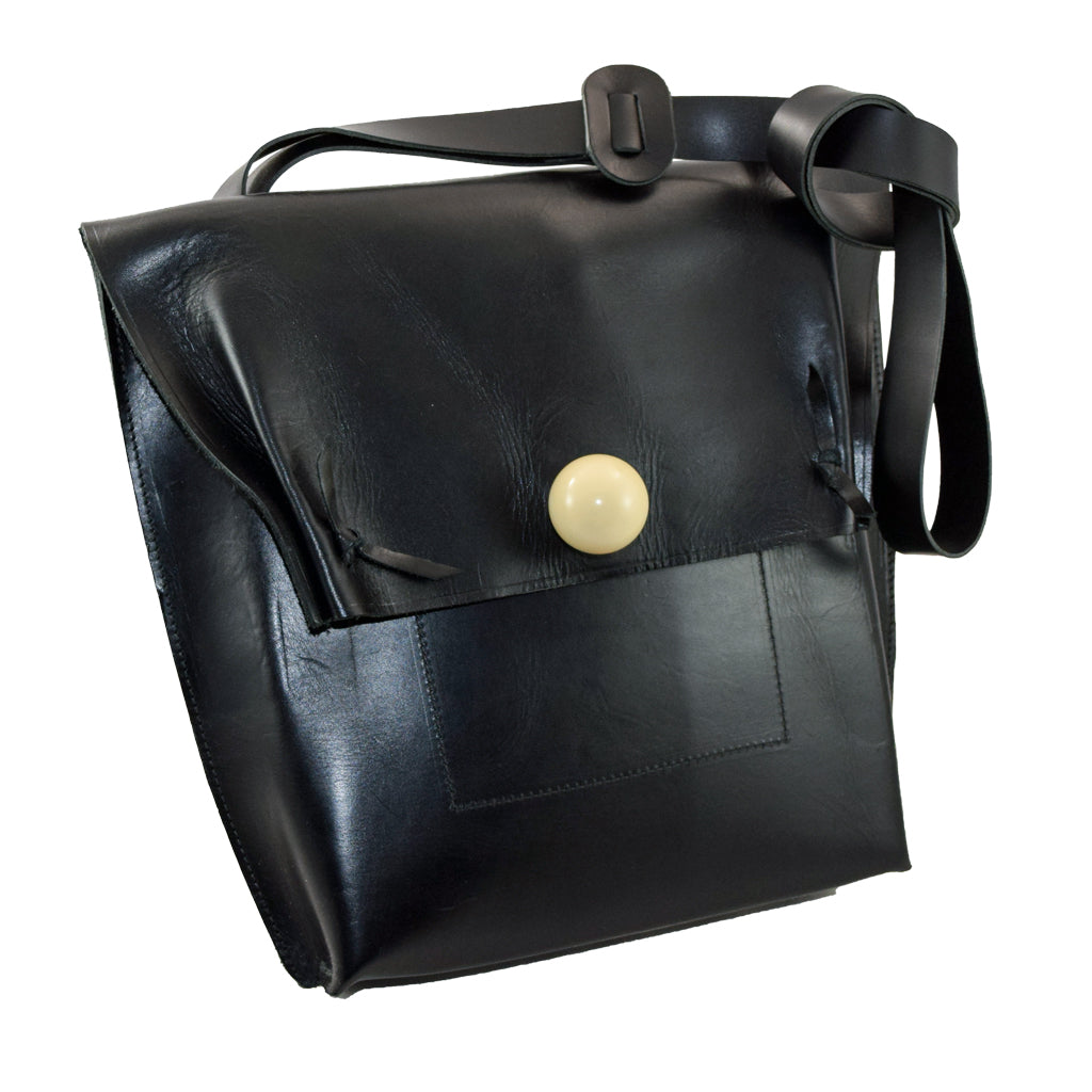 Black Leather Tote w/ cue ball