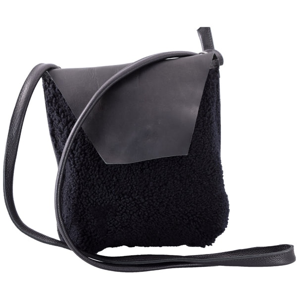 Flap Bag black wool fleece