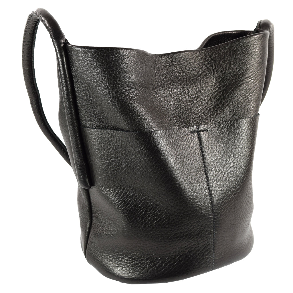 Bucket Bag Black Deerskin