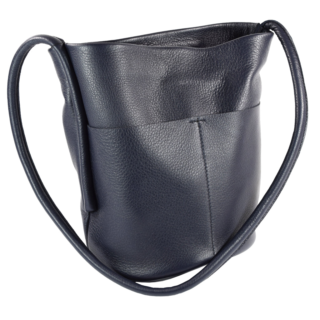 Bucket Bag Navy Blue Deerskin