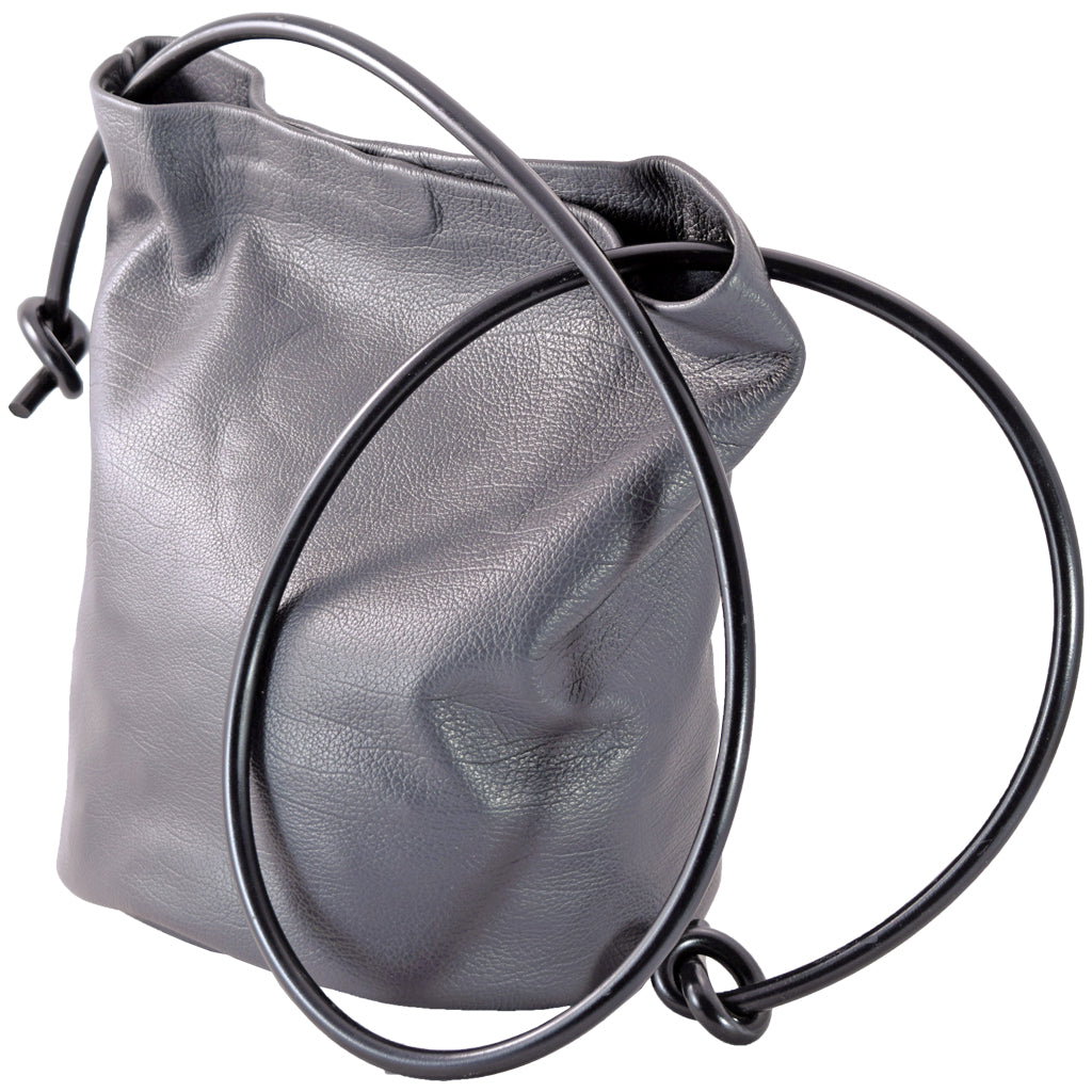Bucket Bag grey w/ black strap