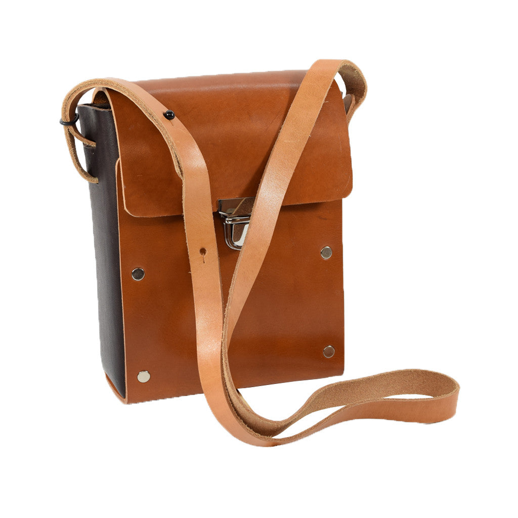 Camera Case tan bridle leather body and dk brwn sides