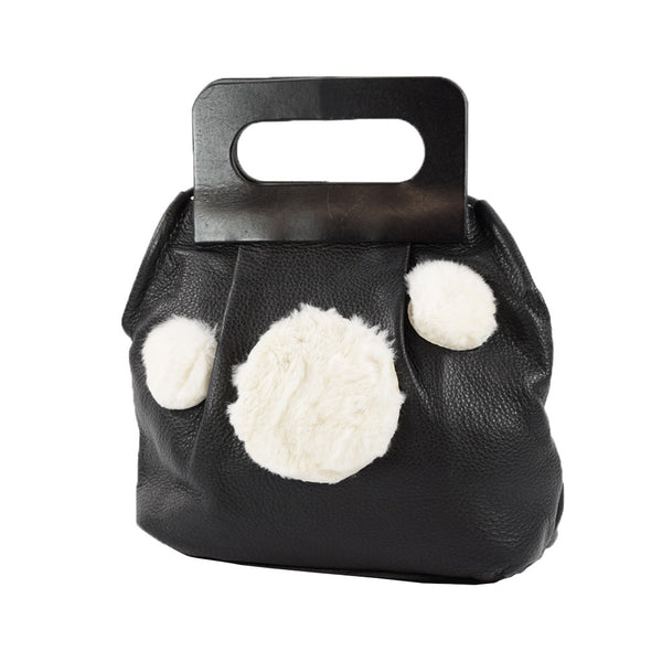 Dot Bag black w/ white rabbit