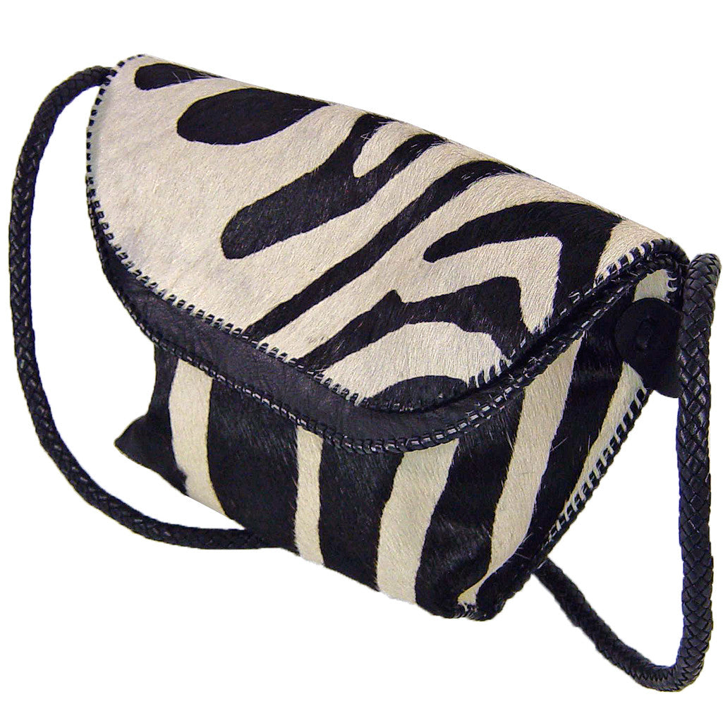 Double Flap Bag with Zebra stencil