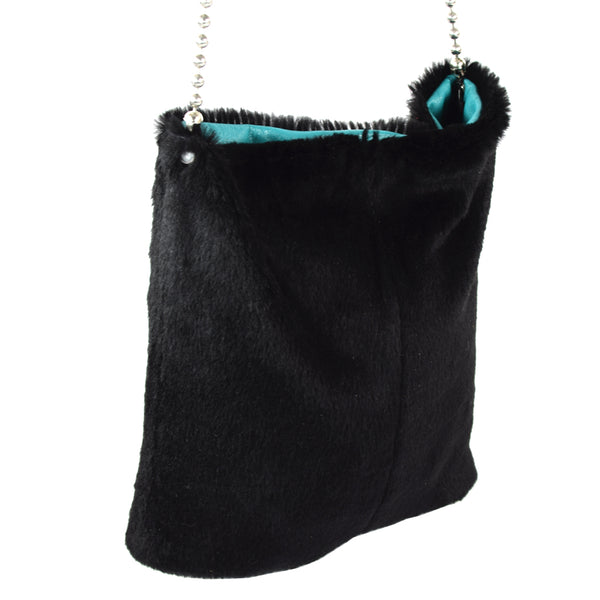 Black Goat Hair Handbag with ball chain